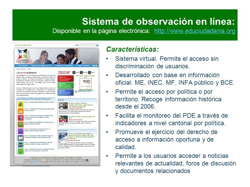 Sistema de observación en línea: Disponible en la página electrónica: http://www.educiudadania.orghttp://www.educiudadania.org Características: Sistem