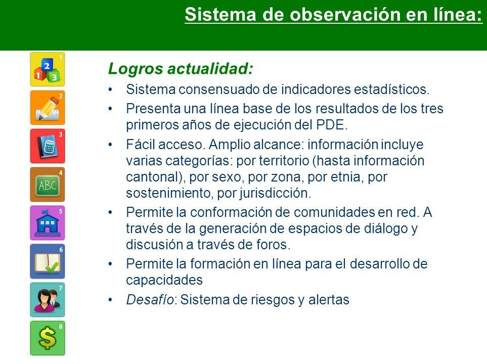 Logros actualidad: Sistema consensuado de indicadores estadísticos. Presenta una línea base de los resultados de los tres primeros años de ejecución d