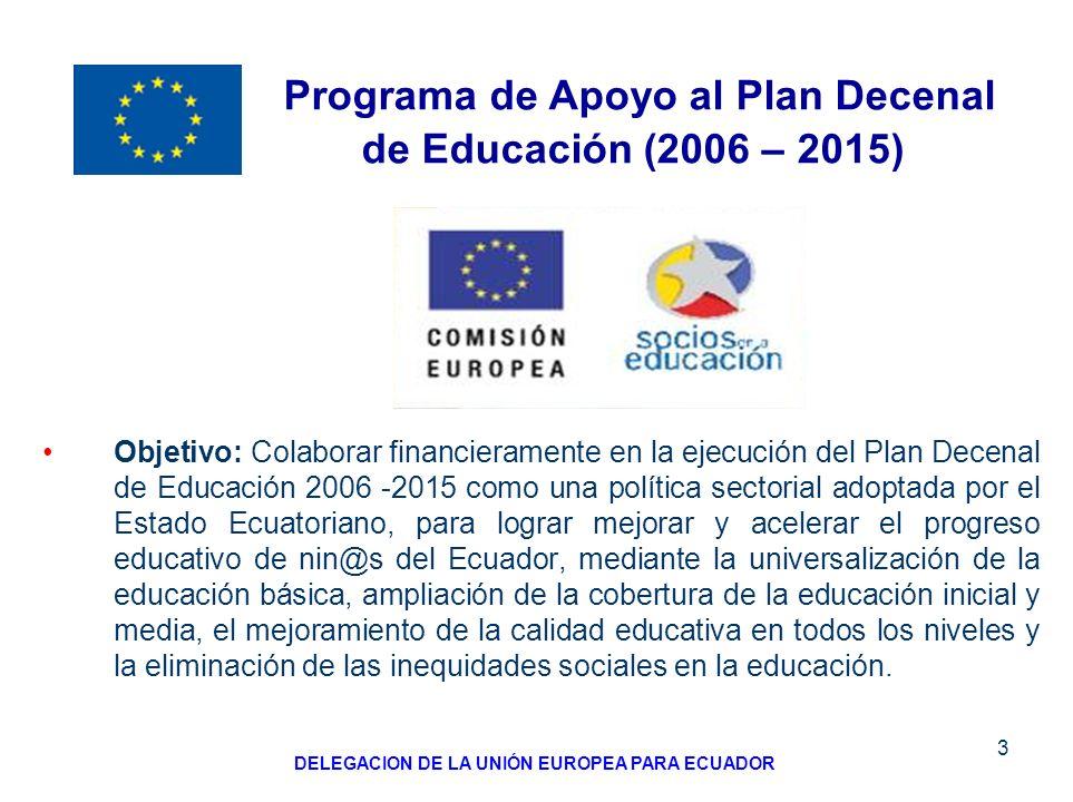 3 Objetivo: Colaborar financieramente en la ejecución del Plan Decenal de Educación 2006 -2015 como una política sectorial adoptada por el Estado Ecua