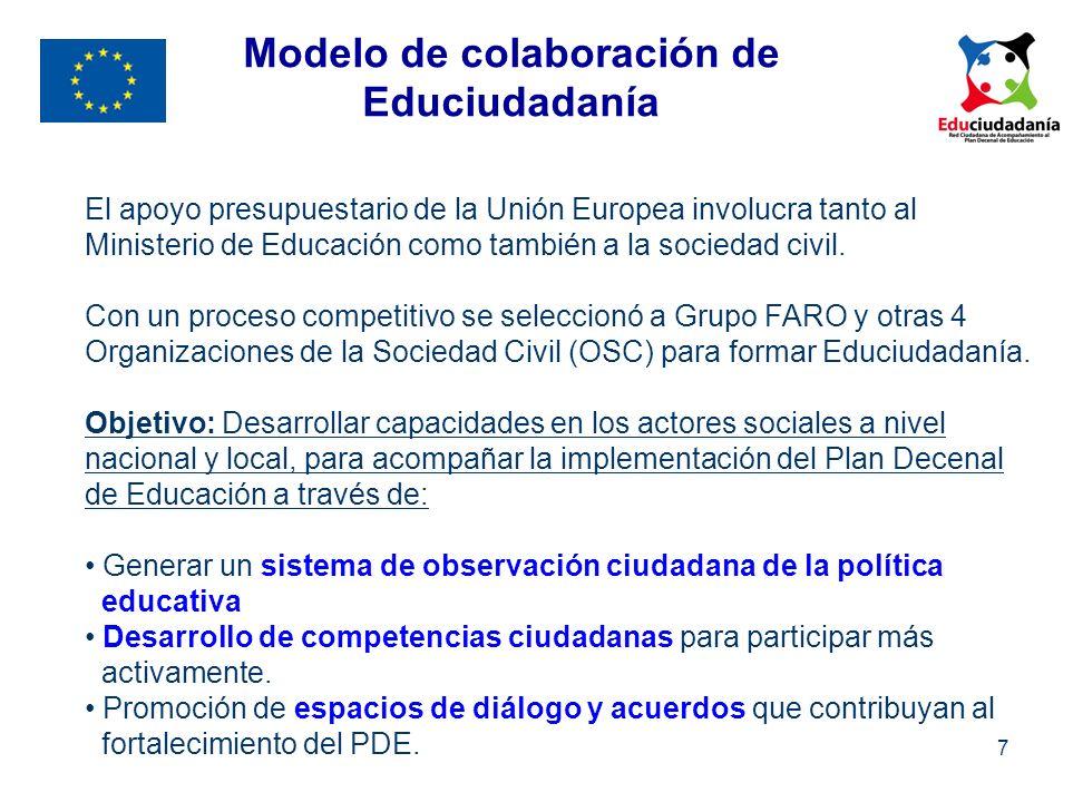 7 El apoyo presupuestario de la Unión Europea involucra tanto al Ministerio de Educación como también a la sociedad civil. Con un proceso competitivo