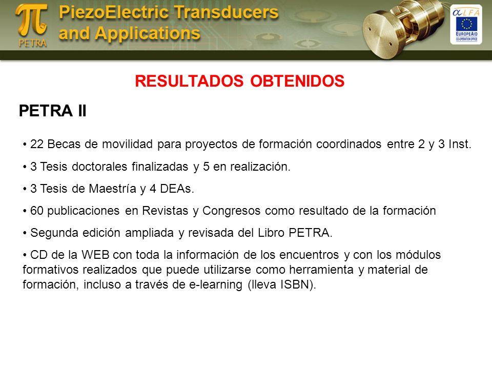 RESULTADOS OBTENIDOS PETRA II 22 Becas de movilidad para proyectos de formación coordinados entre 2 y 3 Inst.