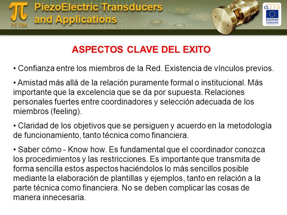 ASPECTOS CLAVE DEL EXITO Confianza entre los miembros de la Red.