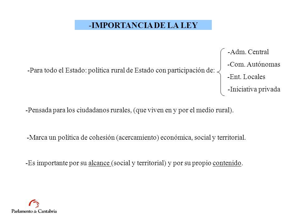 -IMPORTANCIA DE LA LEY -Para todo el Estado: política rural de Estado con participación de: -Adm.