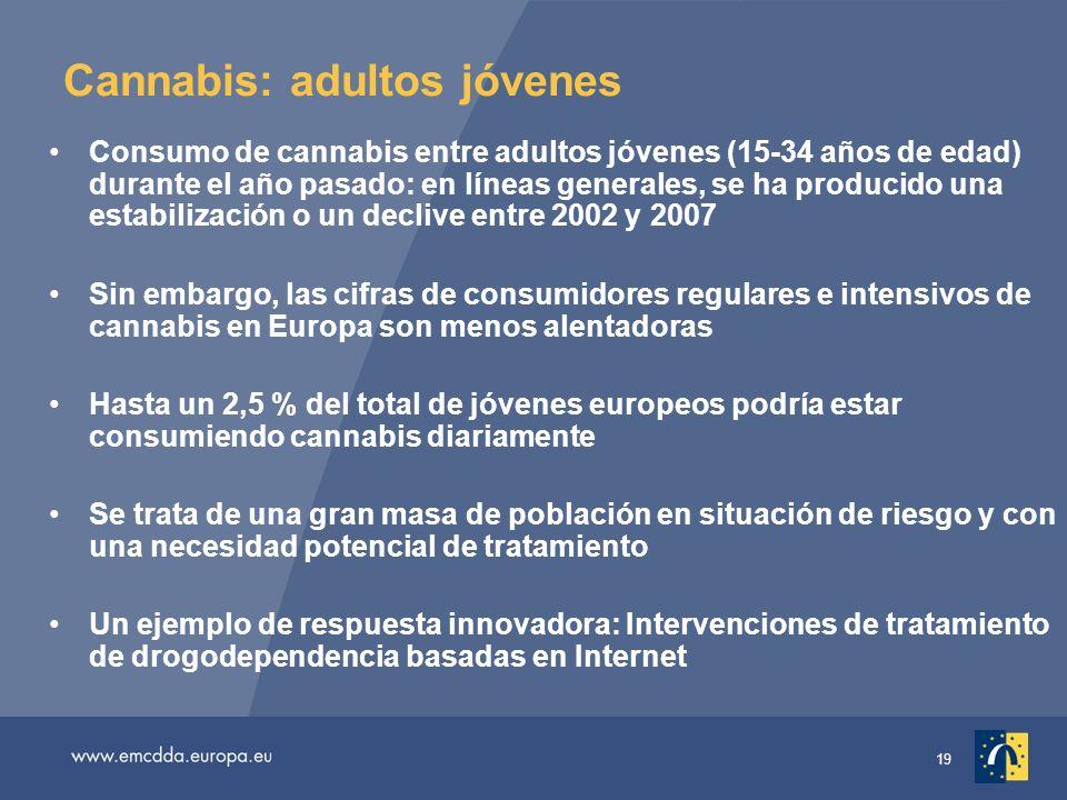 19 Cannabis: adultos jóvenes Consumo de cannabis entre adultos jóvenes (15-34 años de edad) durante el año pasado: en líneas generales, se ha producido una estabilización o un declive entre 2002 y 2007 Sin embargo, las cifras de consumidores regulares e intensivos de cannabis en Europa son menos alentadoras Hasta un 2,5 % del total de jóvenes europeos podría estar consumiendo cannabis diariamente Se trata de una gran masa de población en situación de riesgo y con una necesidad potencial de tratamiento Un ejemplo de respuesta innovadora: Intervenciones de tratamiento de drogodependencia basadas en Internet