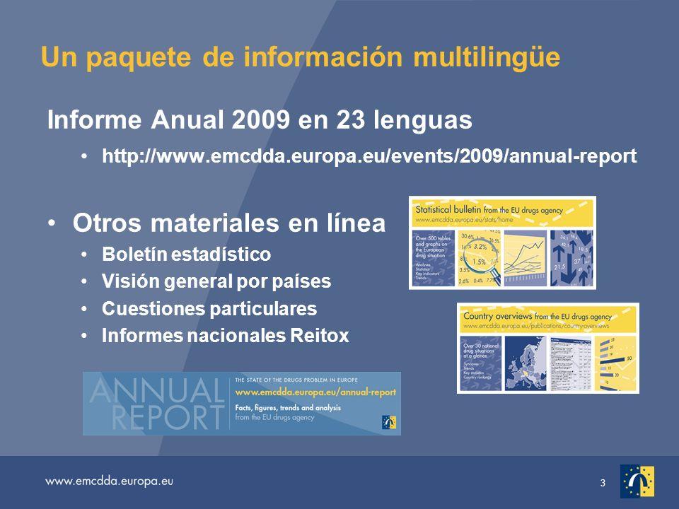 3 Un paquete de información multilingüe Informe Anual 2009 en 23 lenguas http://www.emcdda.europa.eu/events/2009/annual-report Otros materiales en línea Boletín estadístico Visión general por países Cuestiones particulares Informes nacionales Reitox