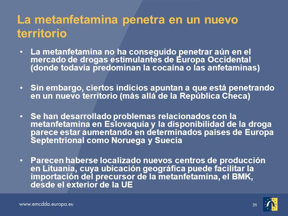 31 La metanfetamina penetra en un nuevo territorio La metanfetamina no ha conseguido penetrar aún en el mercado de drogas estimulantes de Europa Occidental (donde todavía predominan la cocaína o las anfetaminas) Sin embargo, ciertos indicios apuntan a que está penetrando en un nuevo territorio (más allá de la República Checa) Se han desarrollado problemas relacionados con la metanfetamina en Eslovaquia y la disponibilidad de la droga parece estar aumentando en determinados países de Europa Septentrional como Noruega y Suecia Parecen haberse localizado nuevos centros de producción en Lituania, cuya ubicación geográfica puede facilitar la importación del precursor de la metanfetamina, el BMK, desde el exterior de la UE