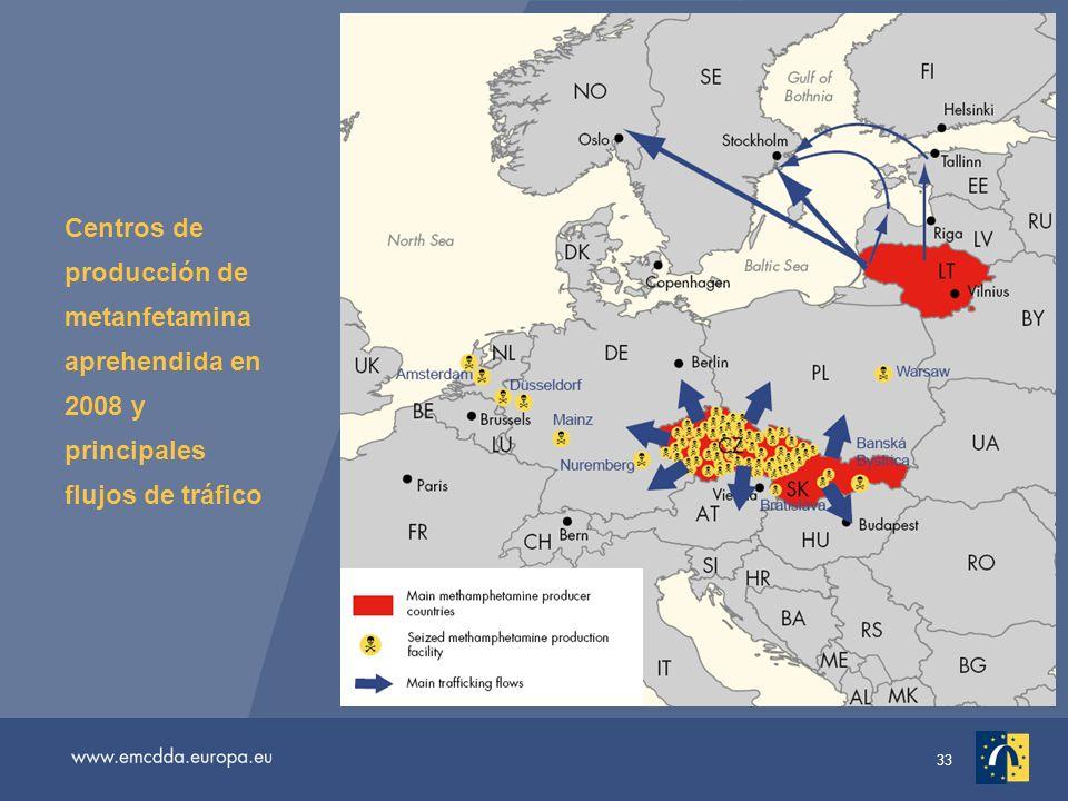 33 Centros de producción de metanfetamina aprehendida en 2008 y principales flujos de tráfico