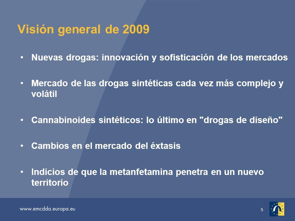 5 Visión general de 2009 Nuevas drogas: innovación y sofisticación de los mercados Mercado de las drogas sintéticas cada vez más complejo y volátil Cannabinoides sintéticos: lo último en drogas de diseño Cambios en el mercado del éxtasis Indicios de que la metanfetamina penetra en un nuevo territorio