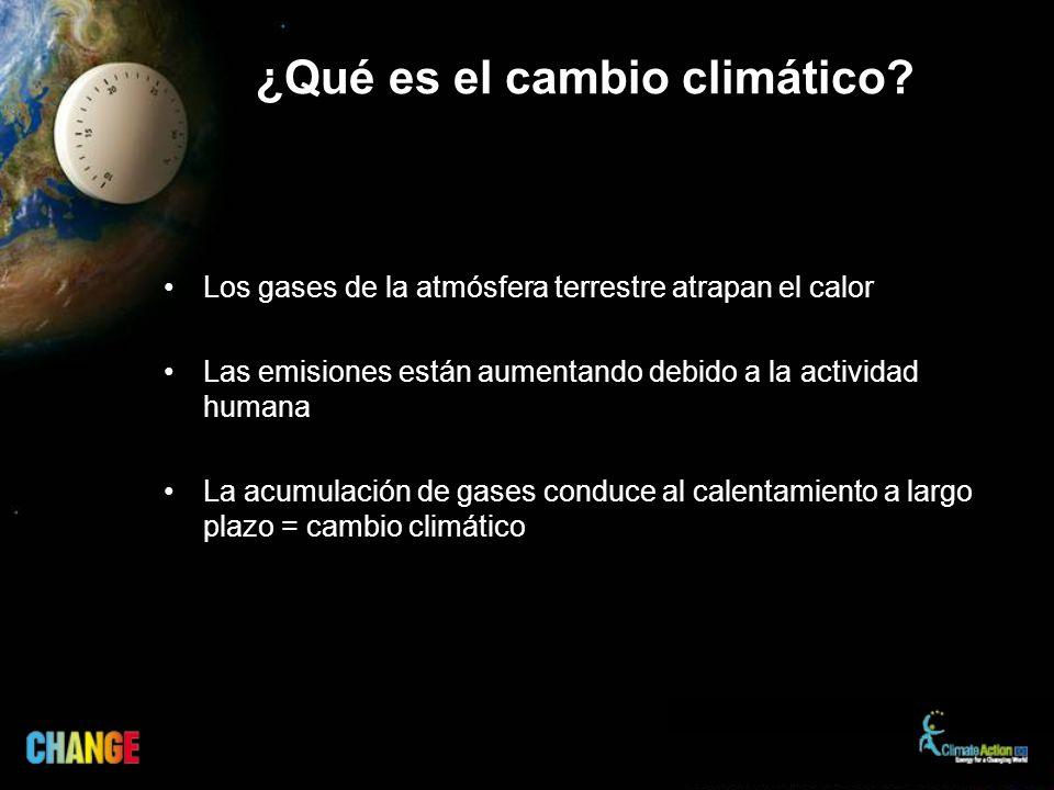¿Qué es el cambio climático? Los gases de la atmósfera terrestre atrapan el calor Las emisiones están aumentando debido a la actividad humana La acumu
