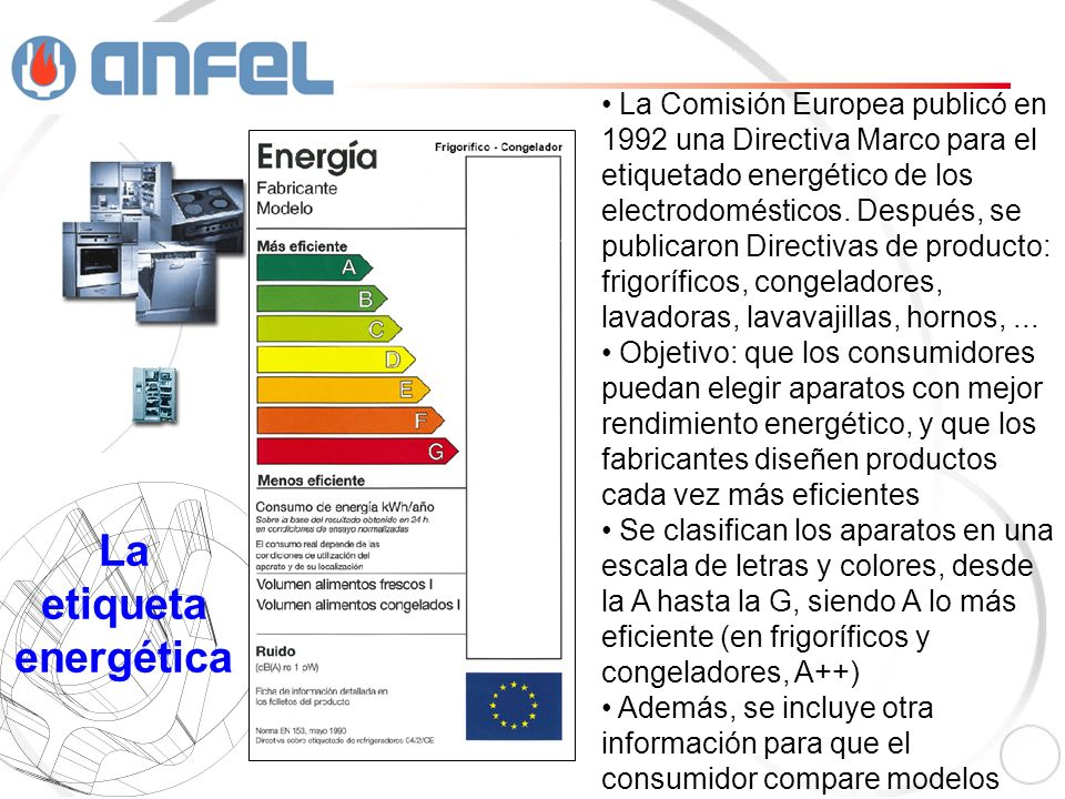 La Comisión Europea publicó en 1992 una Directiva Marco para el etiquetado energético de los electrodomésticos.
