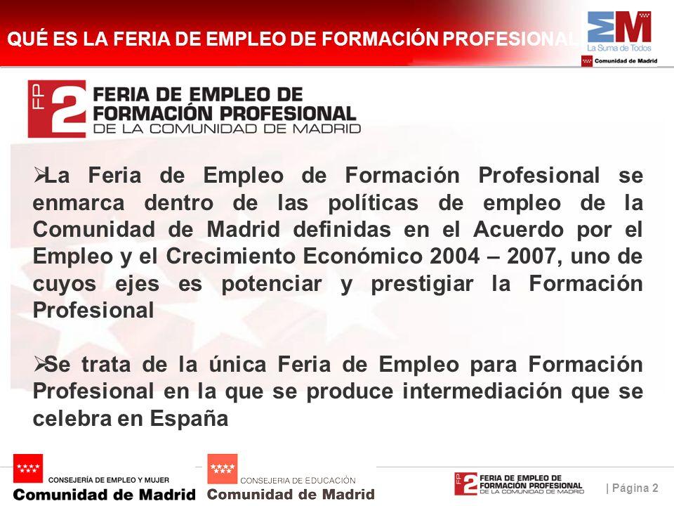 | Página 2 QUÉ ES LA FERIA DE EMPLEO DE FORMACIÓN PROFESIONAL La Feria de Empleo de Formación Profesional se enmarca dentro de las políticas de empleo de la Comunidad de Madrid definidas en el Acuerdo por el Empleo y el Crecimiento Económico 2004 – 2007, uno de cuyos ejes es potenciar y prestigiar la Formación Profesional Se trata de la única Feria de Empleo para Formación Profesional en la que se produce intermediación que se celebra en España