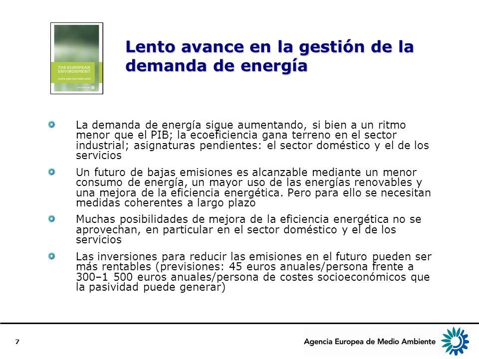 8 Estamos más sanos pero seguimos expuestos a contaminantes Europa ha conseguido reducir el smog y la lluvia ácida A pesar de esto, la contaminación atmosférica sigue causando problemas de salud en numerosas ciudades (partículas y ozono) El uso de tecnologías más limpias en el sector de los transportes y una mejor planificación urbana pueden contribuir a mejorar la situación La aplicación de instrumentos de mercado, como el pago por congestión, con el fin de cambiar pautas de comportamiento también puede ser eficaz El contacto con productos químicos afecta a las personas tanto en Europa como fuera de ella.