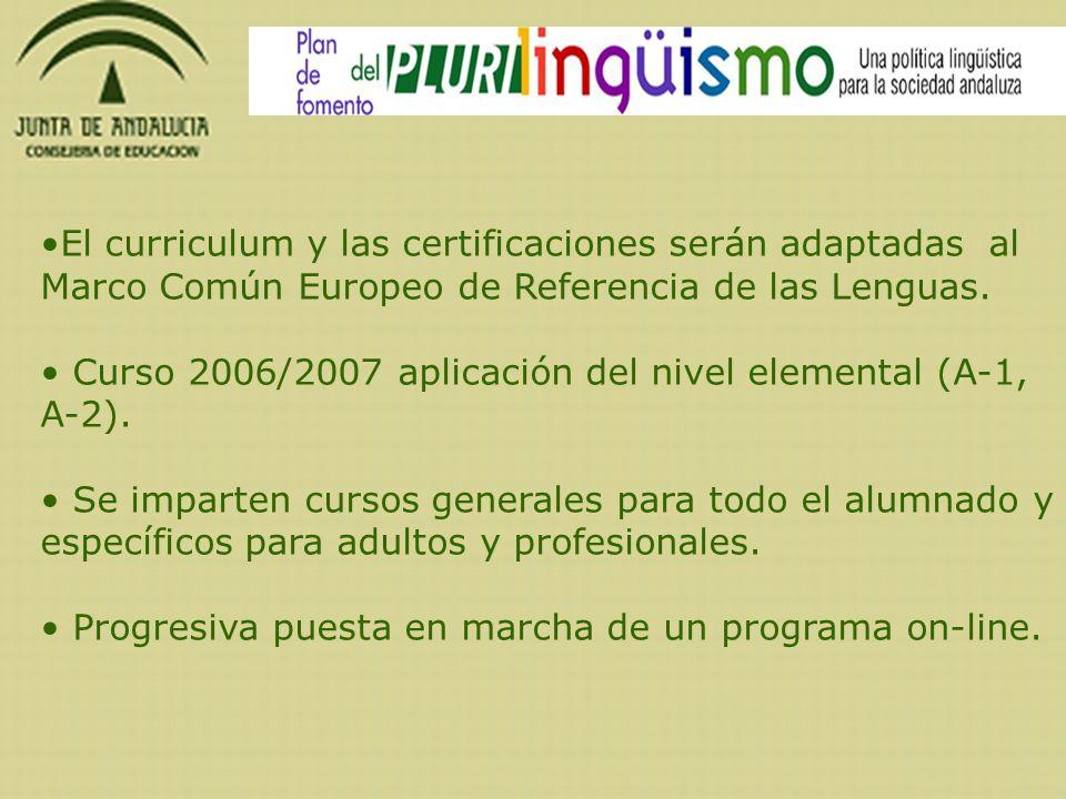 El curriculum y las certificaciones serán adaptadas al Marco Común Europeo de Referencia de las Lenguas. Curso 2006/2007 aplicación del nivel elementa