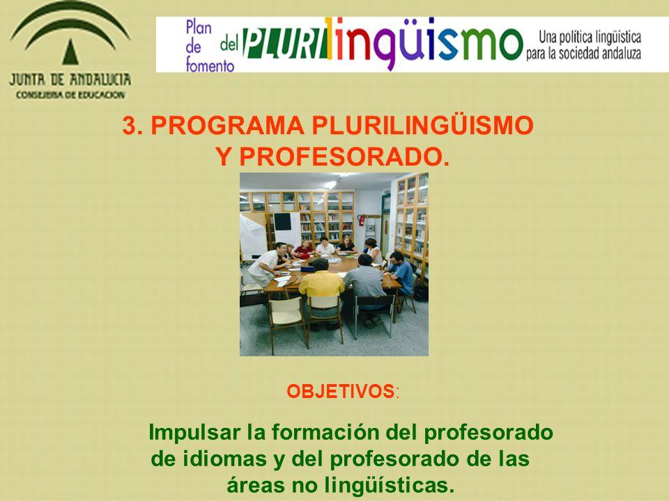 OBJETIVOS: Impulsar la formación del profesorado de idiomas y del profesorado de las áreas no lingüísticas. 3. PROGRAMA PLURILINGÜISMO Y PROFESORADO.