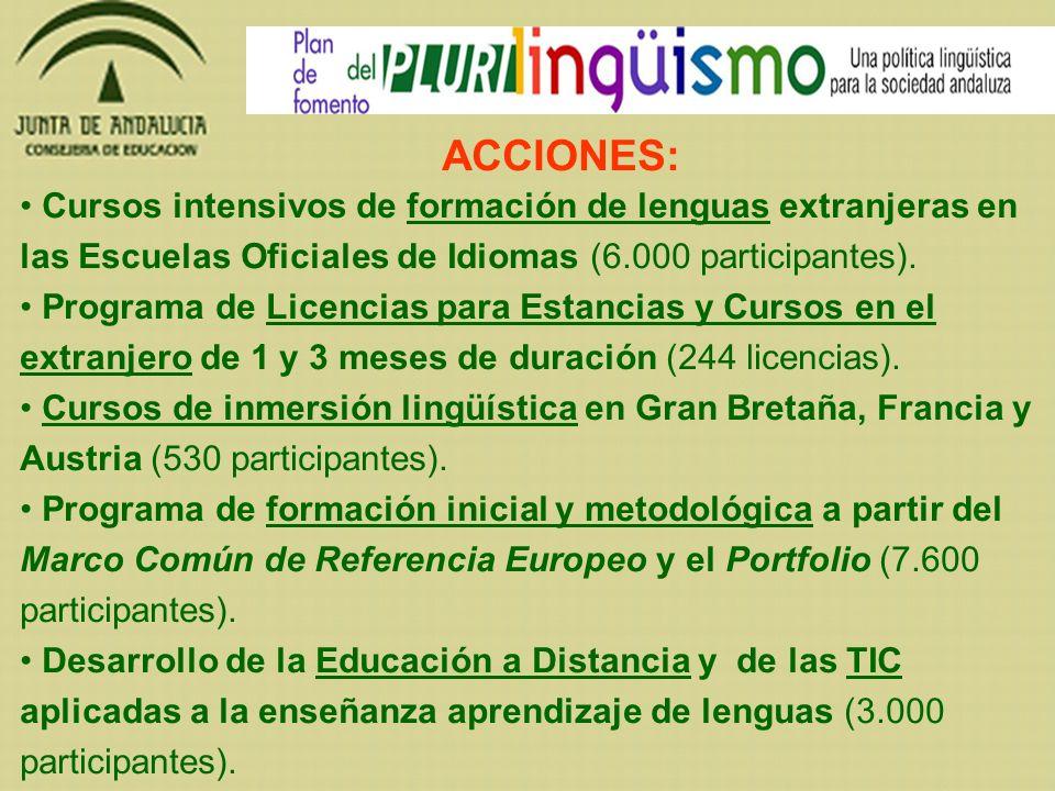 Cursos intensivos de formación de lenguas extranjeras en las Escuelas Oficiales de Idiomas (6.000 participantes). Programa de Licencias para Estancias