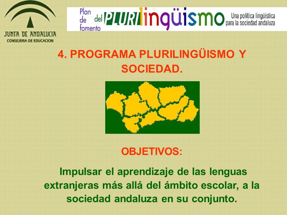 4. PROGRAMA PLURILINGÜISMO Y SOCIEDAD. OBJETIVOS: Impulsar el aprendizaje de las lenguas extranjeras más allá del ámbito escolar, a la sociedad andalu