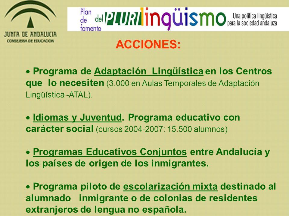 Programa de Adaptación Lingüística en los Centros que lo necesiten (3.000 en Aulas Temporales de Adaptación Lingüística -ATAL). Idiomas y Juventud. Pr