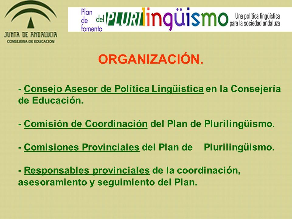 ORGANIZACIÓN. - Consejo Asesor de Política Lingüística en la Consejería de Educación. - Comisión de Coordinación del Plan de Plurilingüismo. - Comisio