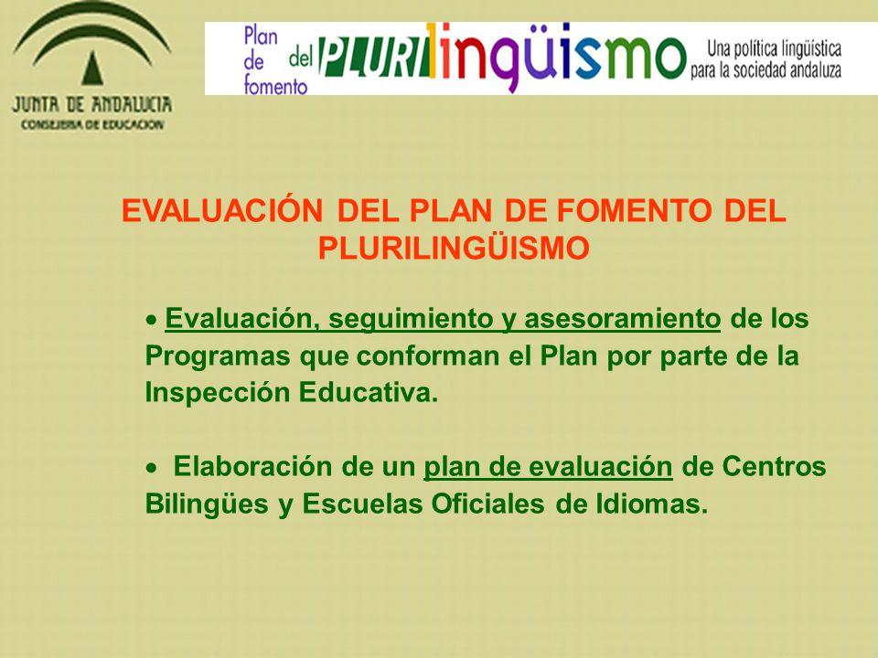 EVALUACIÓN DEL PLAN DE FOMENTO DEL PLURILINGÜISMO Evaluación, seguimiento y asesoramiento de los Programas que conforman el Plan por parte de la Inspe