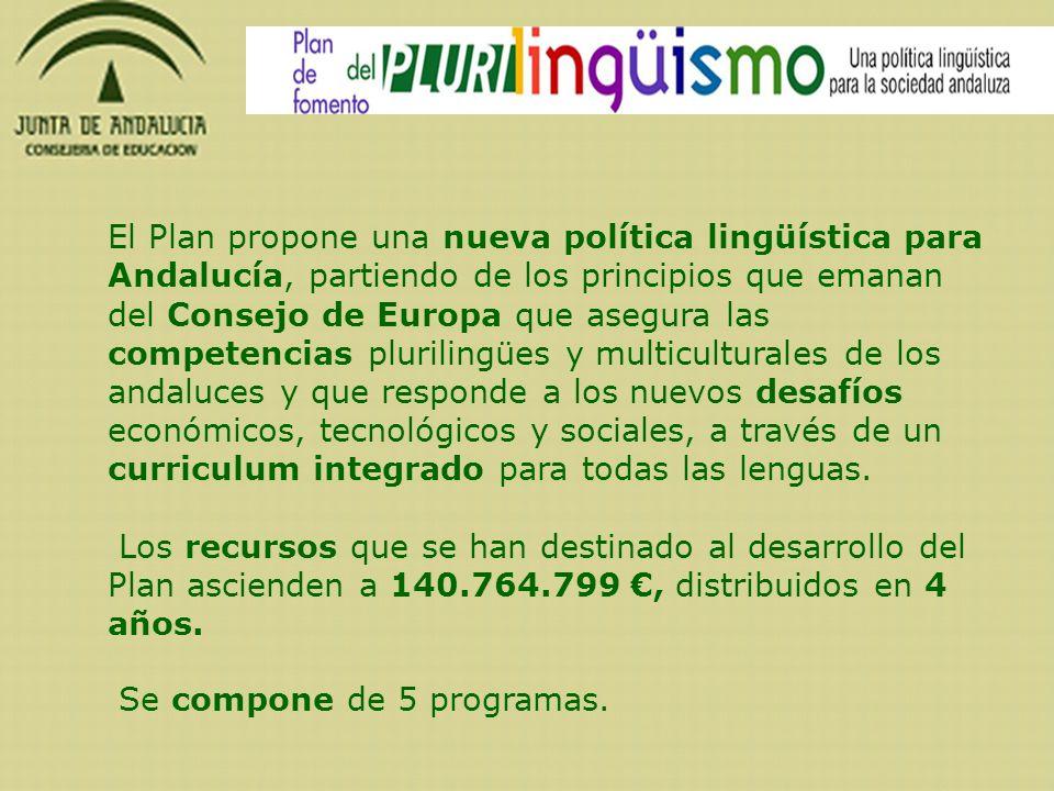 El Plan propone una nueva política lingüística para Andalucía, partiendo de los principios que emanan del Consejo de Europa que asegura las competenci