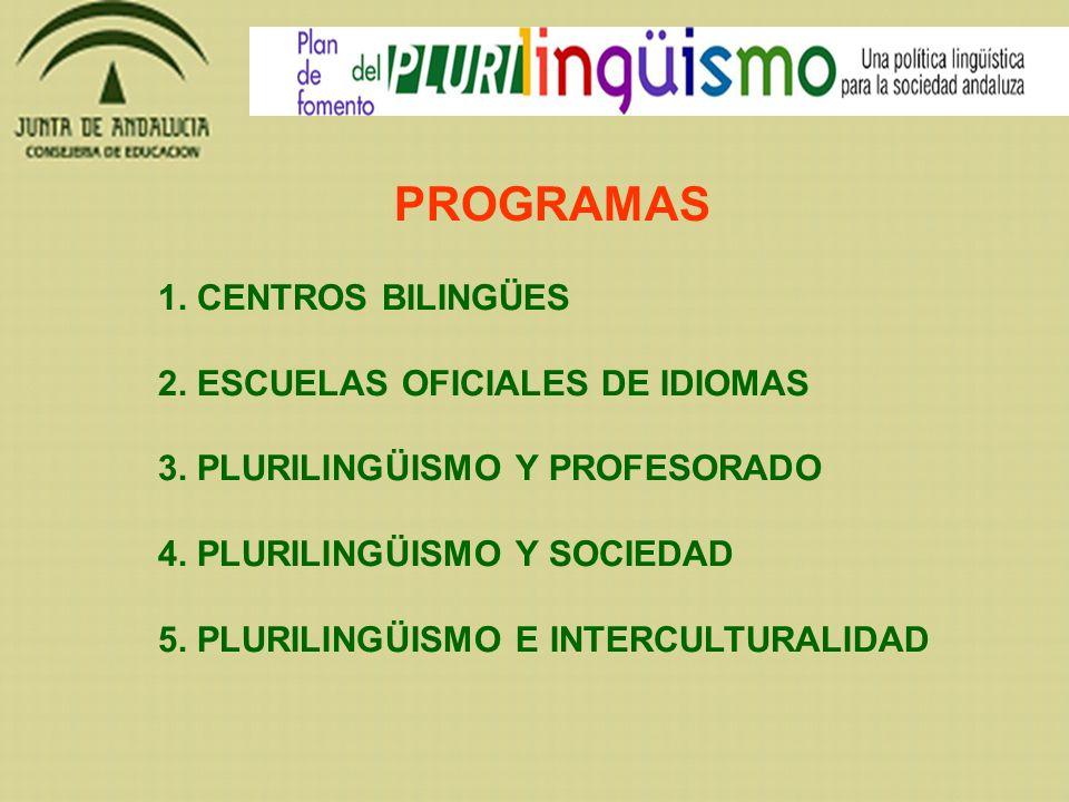 PROGRAMAS 1. CENTROS BILINGÜES 2. ESCUELAS OFICIALES DE IDIOMAS 3. PLURILINGÜISMO Y PROFESORADO 4. PLURILINGÜISMO Y SOCIEDAD 5. PLURILINGÜISMO E INTER