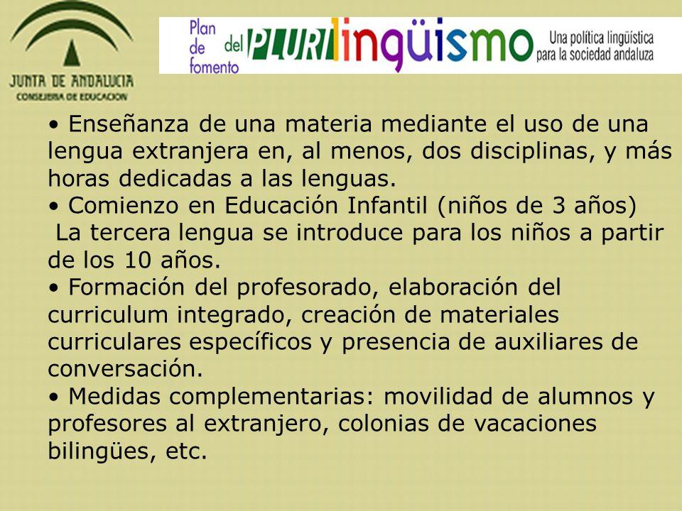 Enseñanza de una materia mediante el uso de una lengua extranjera en, al menos, dos disciplinas, y más horas dedicadas a las lenguas. Comienzo en Educ