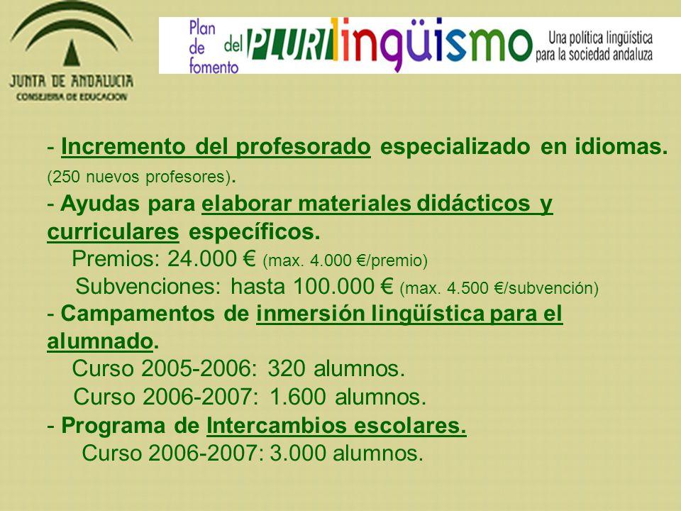 - Incremento del profesorado especializado en idiomas. (250 nuevos profesores). - Ayudas para elaborar materiales didácticos y curriculares específico