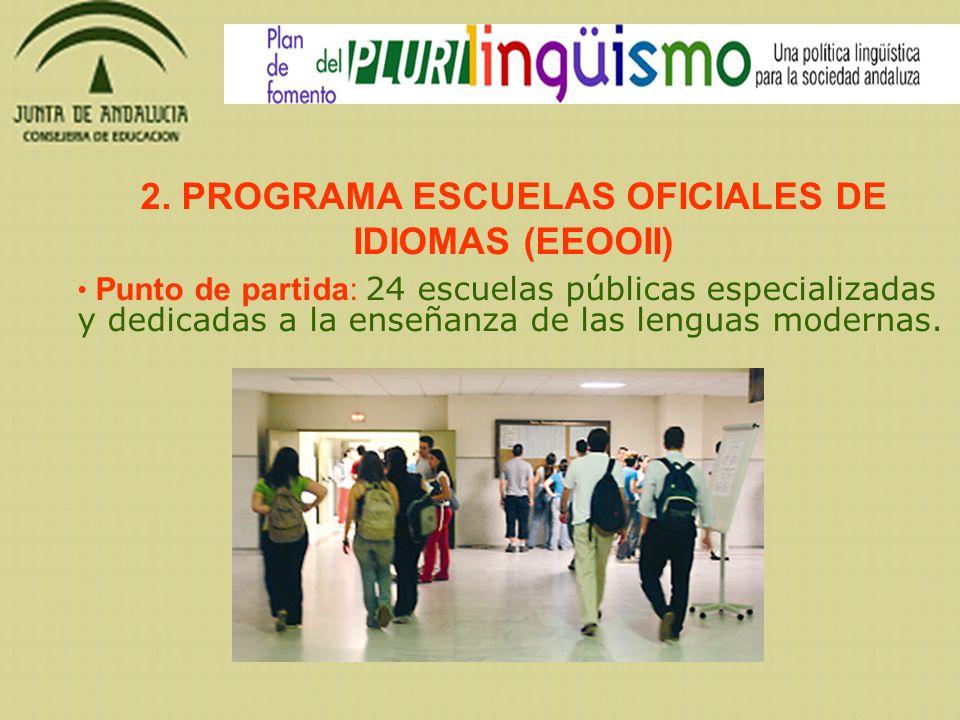 2. PROGRAMA ESCUELAS OFICIALES DE IDIOMAS (EEOOII) Punto de partida: 24 escuelas públicas especializadas y dedicadas a la enseñanza de las lenguas mod