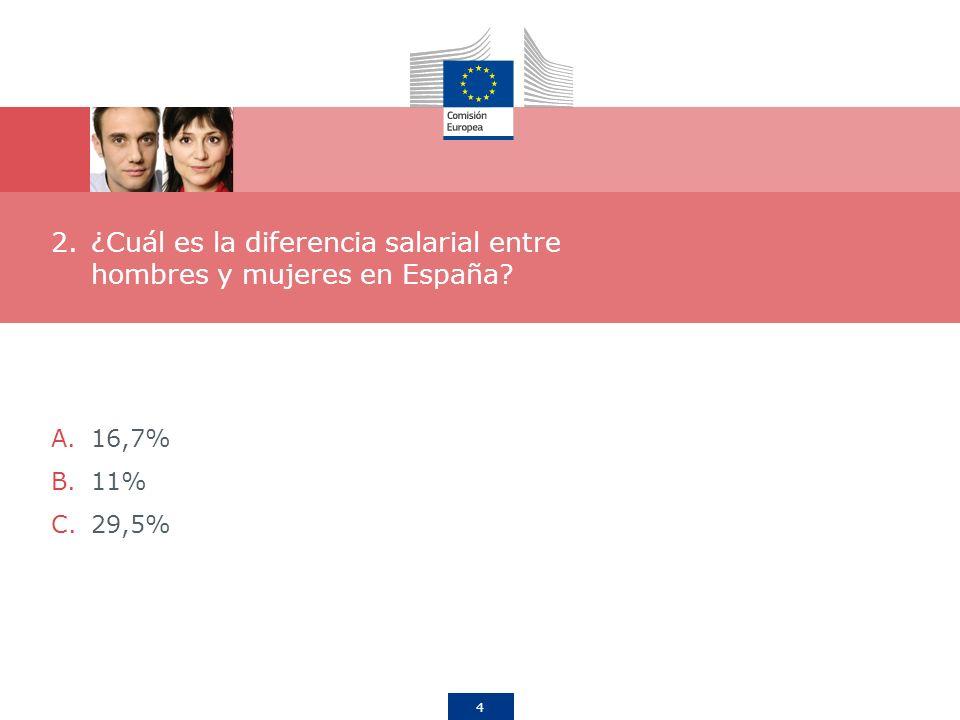 4 2.¿Cuál es la diferencia salarial entre hombres y mujeres en España? A.16,7% B.11% C.29,5%