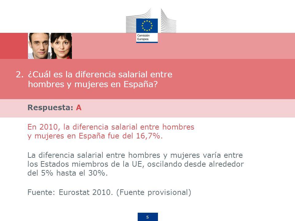 5 2.¿Cuál es la diferencia salarial entre hombres y mujeres en España? Respuesta: A En 2010, la diferencia salarial entre hombres y mujeres en España