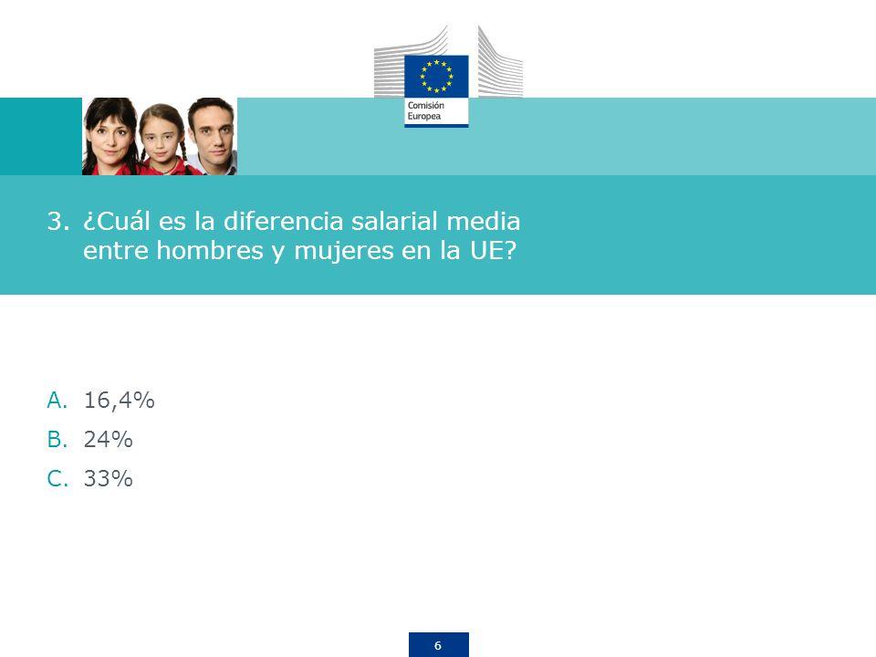6 3.¿Cuál es la diferencia salarial media entre hombres y mujeres en la UE? A.16,4% B.24% C.33%