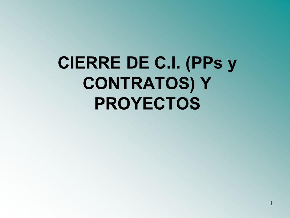 2 Índice 1.Cierres de Presupuestos-Programa 2.Cierres de Contratos 3.Cierres de Compromisos Globales (Proyectos)