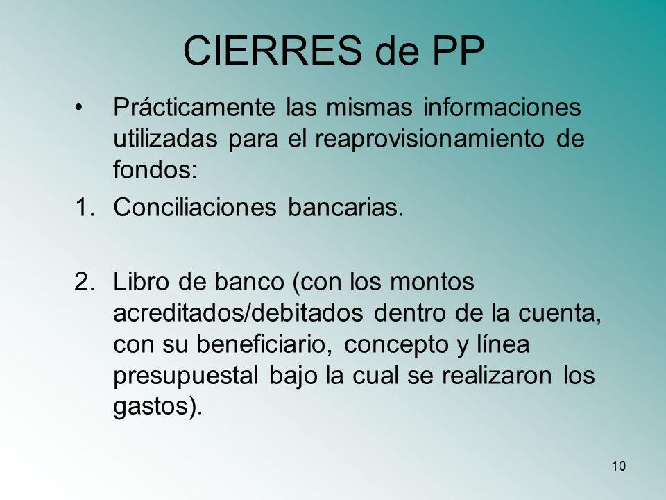 10 CIERRES de PP Prácticamente las mismas informaciones utilizadas para el reaprovisionamiento de fondos: 1.Conciliaciones bancarias. 2.Libro de banco