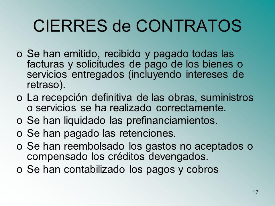 17 CIERRES de CONTRATOS oSe han emitido, recibido y pagado todas las facturas y solicitudes de pago de los bienes o servicios entregados (incluyendo i