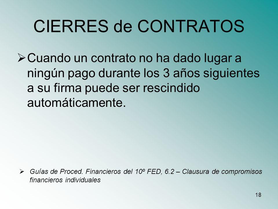 18 CIERRES de CONTRATOS Cuando un contrato no ha dado lugar a ningún pago durante los 3 años siguientes a su firma puede ser rescindido automáticament