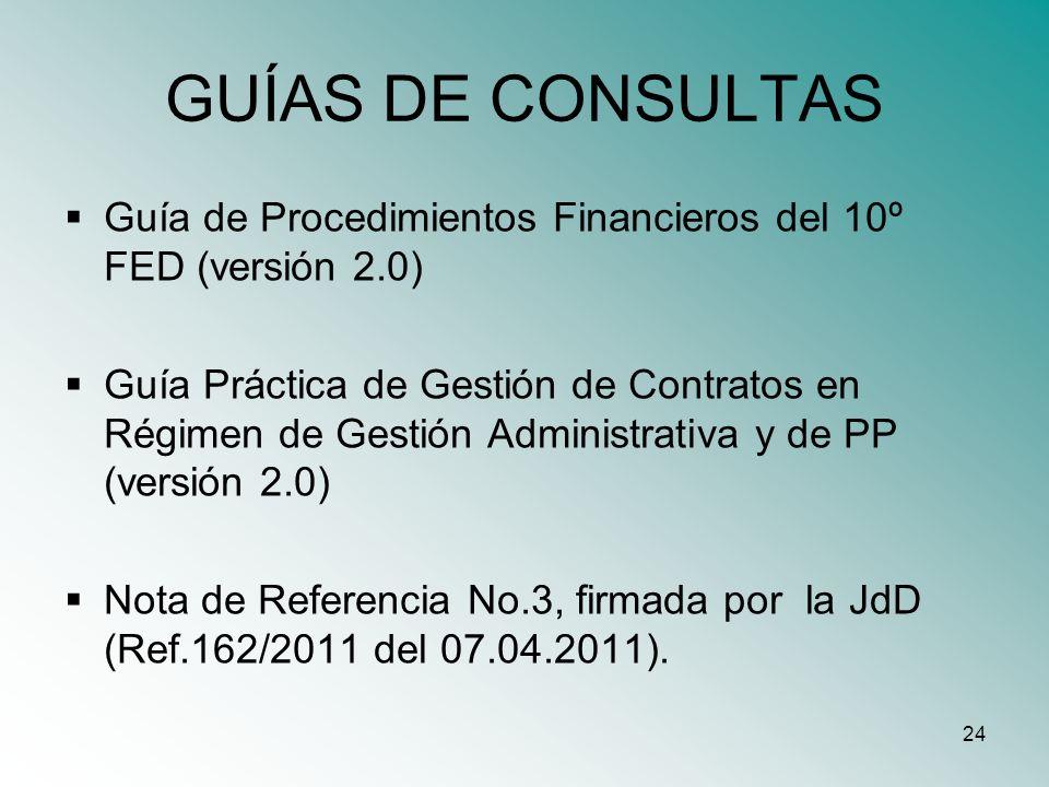 24 GUÍAS DE CONSULTAS Guía de Procedimientos Financieros del 10º FED (versión 2.0) Guía Práctica de Gestión de Contratos en Régimen de Gestión Adminis