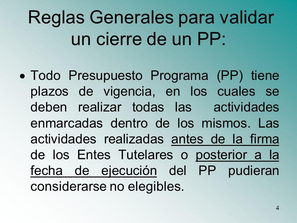 4 Reglas Generales para validar un cierre de un PP: Todo Presupuesto Programa (PP) tiene plazos de vigencia, en los cuales se deben realizar todas las