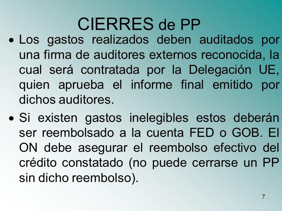 8 CIERRES de PP La cuenta abierta para operar los fondos FED en el marco de un presupuesto programa, deberá ser utilizada exclusivamente para tales fines, por lo cual recursos de otras fuentes deberán ser manejados a través de otra cuenta bancaria.