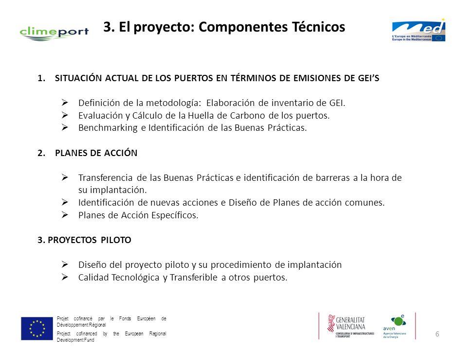 6 Projet cofinancé par le Fonds Européen de Développement Régional Project cofinanced by the European Regional Development Fund 3. El proyecto: Compon
