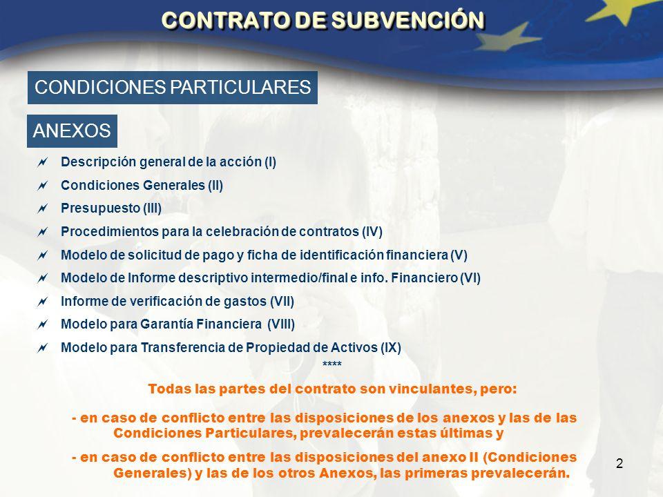 2 CONTRATO DE SUBVENCIÓN Descripción general de la acción (I) Condiciones Generales (II) Presupuesto (III) Procedimientos para la celebración de contratos (IV) Modelo de solicitud de pago y ficha de identificación financiera (V) Modelo de Informe descriptivo intermedio/final e info.