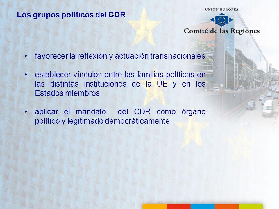 Los grupos políticos del CDR favorecer la reflexión y actuación transnacionales establecer vínculos entre las familias políticas en las distintas inst