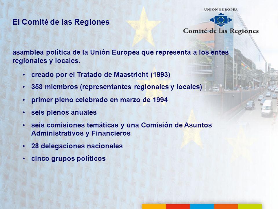 Fechas clave 19931993el Tratado de Maastricht crea el CDR 19941994primer pleno, celebrado en Bruselas 1995 1995 el número de miembros del CDR aumenta de 189 a 222 cuando la UE-12 se amplía a la UE-15 19971997el Tratado de Ámsterdam refuerza al CDR al incrementar los ámbitos de consulta obligatoria y permitir la consulta por parte del Parlamento Europeo 20032003 el Tratado de Niza determina que los miembros del CDR deben ser titulares de un mandato electoral u ostentar una responsabilidad política 20042004el CDR pasa de 222 a 317 miembros en la UE-25 20072007el CDR pasa de 317 a 344 miembros en la UE-27 20092009el Tratado de Lisboa refuerza el estatuto y el papel político del CDR 20132013el CDR pasa de 344 a 353 miembros en la UE-28