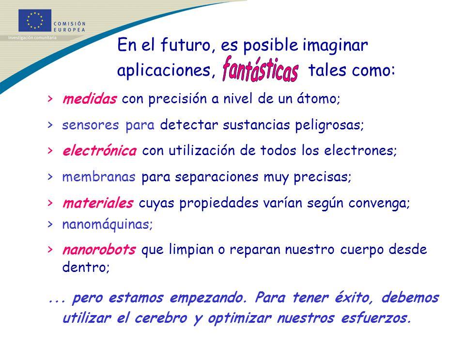 En el futuro, es posible imaginar aplicaciones, tales como: >medidas con precisión a nivel de un átomo; >sensores para detectar sustancias peligrosas;