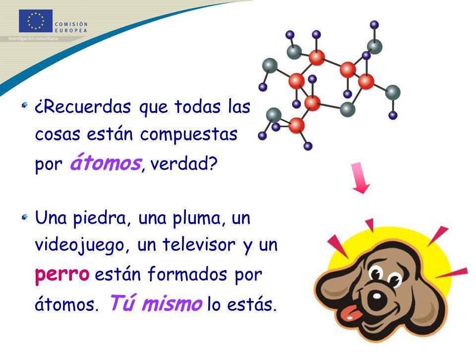 ¿Recuerdas que todas las cosas están compuestas por átomos, verdad? Una piedra, una pluma, un videojuego, un televisor y un perro están formados por á