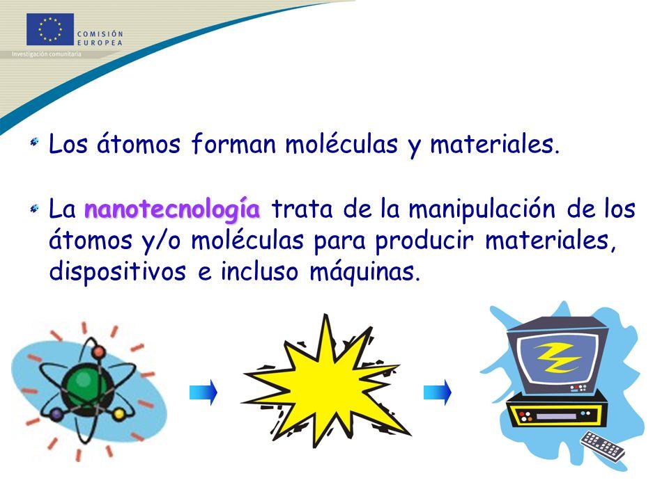 Los átomos forman moléculas y materiales. nanotecnología La nanotecnología trata de la manipulación de los átomos y/o moléculas para producir material