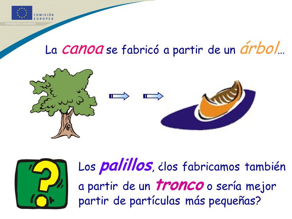 La canoa se fabricó a partir de un árbol … Los palillos, ¿los fabricamos también a partir de un tronco o sería mejor partir de partículas más pequeñas