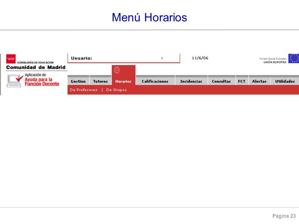 Página 23 HORARIOS Menú Horarios