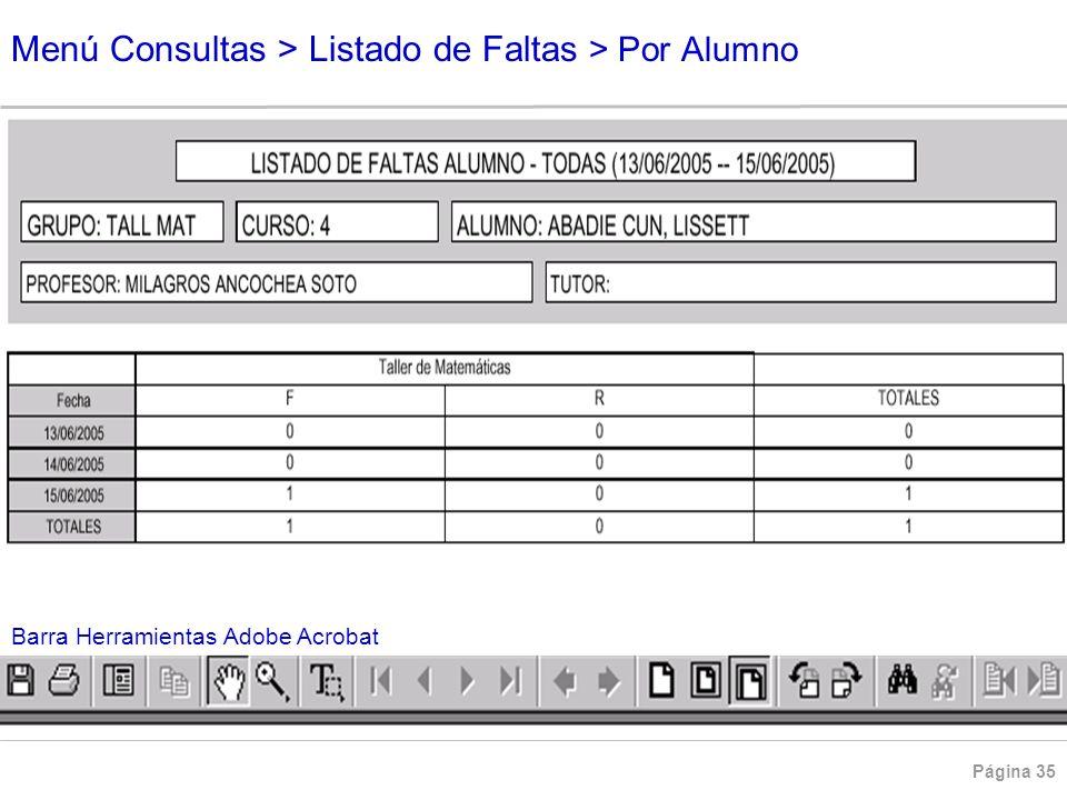 Página 35 Menú Consultas > Listado de Faltas > Por Alumno Barra Herramientas Adobe Acrobat