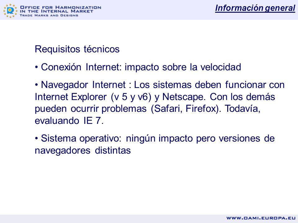Información general Requisitos técnicos Conexión Internet: impacto sobre la velocidad Navegador Internet : Los sistemas deben funcionar con Internet Explorer (v 5 y v6) y Netscape.