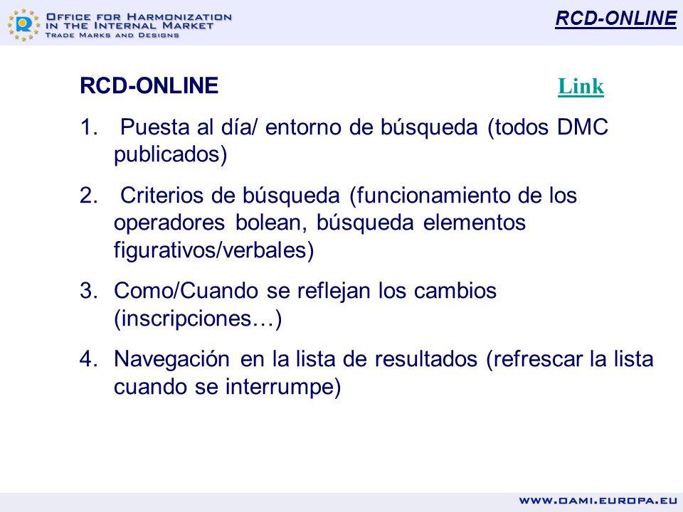 RCD-ONLINE RCD-ONLINE Link Link 1. Puesta al día/ entorno de búsqueda (todos DMC publicados) 2. Criterios de búsqueda (funcionamiento de los operadore